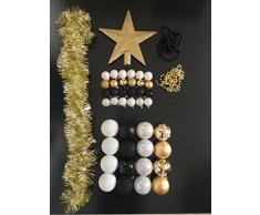 Lot déco Noël - Kit 44 pièces pour décoration sapin : Guirlandes, Boules et Cimier - Thème couleur : Blanc, Or et Noir