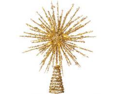 WeRChristmas Cimier de Sapin en Forme détoile à Paillettes, doré, 32 cm