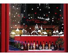 """ufengke® """"Merry Christmas Happy New Year"""" Flocon de Neige Ville Arbre de Noël Christmas Cabins Stickers Muraux Fenêtre Autocollant Amovibles Autocollants Muraux Blanc et Rouge"""