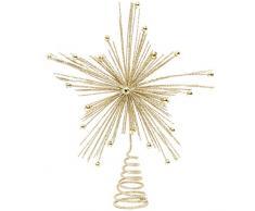 Cimier Festive Productions pour Sapin de Noël - en Forme détoile rayonnante - avec Paillettes Dimensions : 20 cm Couleur Or Référence 176663