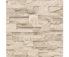 Muriva J27407 Papier-peint de luxe en vinyle Motif mure de briques texturé Beige