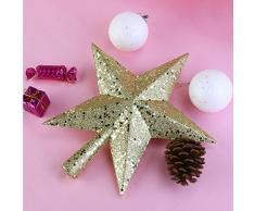 nicexmas Arbre de Noël étoile - étoile de Noël Cimier étoile Pointe coton coton Bijoux Sapin de Noël Rouge (23 cm) Gold (11.5cm)