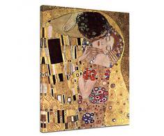 """Bilderdepot24 toile imprimée Deco - tableau toile de Gustav Klimt - Vieux Maître Art Peinture """"Le Baiser"""" 50x60cm - livrée montées sur châssis en bois, tableau sur toile, toile sur l'image, vente directe par le fabricant allemandile,"""