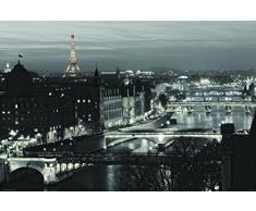Laminated Posters Romance City Paris View, noir et blanc Poster mesures 91,4 x 61 cm (91.5 x 61 cm)