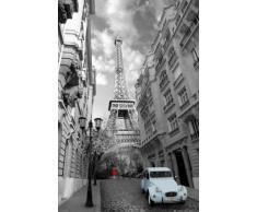 1art1® Poster + Suspension : Tour Eiffel Poster (91x61 cm) Paris, Femme en Rouge, 2 Chevaux en Bleu Et Kit De Fixation Noir