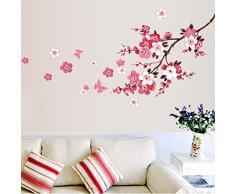 ufengke® Printemps Fleur de Cerisier Stickers Muraux,Salon Salle de Séjour Chambre à Coucher Décalcomanies Murales Autocollants Amovibles