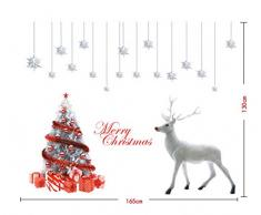 ufengke Joyeux Noël Arbre de Noël D'Argent Wapiti Étoiles D'Argent Vitrine Stickers Muraux, Salle de Séjour Chambre À Coucher Autocollants Amovibles