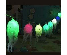 Décoration Halloween , Morbuy Guirlande Lumineuse Halloween Decoration 10 LED Lumineuse Batterie Alimentation Crâne LED Changement de Couleur Humain Halloween Décoration d'Atmosphère