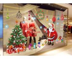 """ufengke® XLarge """"Joyeux Noël"""" Père Noël Arbre de Noël Bas de Noël et des Cadeaux de Noël Stickers Muraux, Salle de Séjour Chambre à Coucher Vitrine Autocollants Amovibles"""