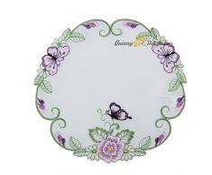 Quinnyshop Lilas Papillons et Fleurs Broderie Napperon 20 cm Rond Polyester, Blanc