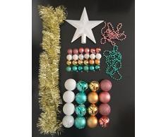 Lot déco Noël - Kit 44 pièces pour décoration sapin : Guirlandes, Boules et Cimier - Thème couleur : Blanc, Or, Rose et Bleu Turquoise
