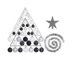 Lot déco Noël - Kit 44 pièces pour décoration sapin : Guirlandes, Boules et Cimier - Thème couleur : Blanc, Argent et Noir