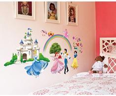 """ufengke® """"Château de Princesse"""" Princesse et Le Prince Stickers Muraux, La Chambre des Enfants Pépinière Autocollants Amovibles"""