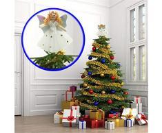 """fangkuai-xmas Mini Mignon Ange Cimier De Sapin De Noël, Décorations Sapin De Noel, Brillantes, Blanc Et Argent, 17Cm(6.7"""")"""