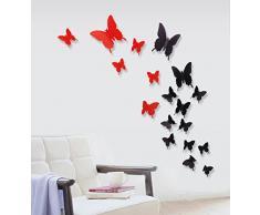 ufengke® 12 Pcs 3D Papillons Stickers Muraux Design de Mode Bricolage Papillon Art Autocollants Artisanat Décoration de La Maison, I