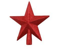 Ototon Cimier de Sapin de Noël Étoile Scintillante Topper darbre de Noël Sommet de Sapin pour Maison Décorations Fête 20cm (Rouge)