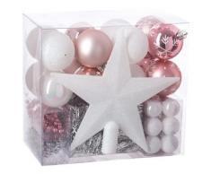 FEERIC LIGHTS & CHRISTMAS Lot déco Noël - Kit 44 pièces pour décoration Sapin : Guirlandes, Boules et Cimier - Thème Couleur : Blanc & Rose.