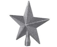 Wedestock Cimier de Sapin de noël étoile Argent pailletée