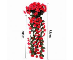 niceEshop(TM) Fleurs Artificielles pour la Décoration de Mariage, Mur et Maison (Rouge Foncé)