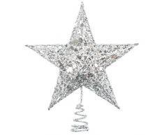 Tupa Cimier de sapin de Noël en métal pailleté, étoile pour décoration de Noël, 20,3 cm, argenté, 20 cm