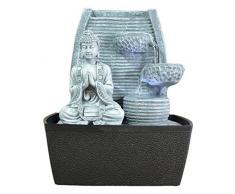 Zen'Light Fontaine d'Intérieur Mur Bouddha Méditation Gris Pierre/Noir 20 x 15 x 24 cm