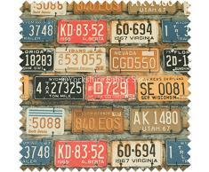 Tissu d'ameublement rétro léger moderne, motif plaque d'immatriculation de voiture américaine , rouille, Per Metre