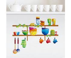 ufengke Ustensiles de Cuisine Diversifiée Coloré Stickers Muraux, Cuisine Salle À Manger Autocollants Amovibles