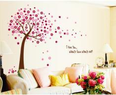 ufengke® Romantique Fleur Rouge Arbre Stickers Muraux, Salle de Séjour Chambre à Coucher Autocollants Amovibles