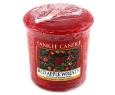 YANKEE CANDLE 1120702E Bougie Votive Senteur Couronne de Pommes Noël 49 g Rouge