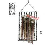 Décoration faucheur en cage animé, lumineux et sonore 52 cm Halloween - Taille Unique