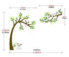 ufengke® Grand Arbre Dessin Animé Animaux Koala Stickers Muraux, La Chambre Des Enfants Pépinière Autocollants Amovibles