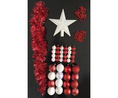 Lot déco Noël - Kit 44 pièces pour décoration sapin : Guirlandes, Boules et Cimier - Thème couleur : Blanc et Rouge