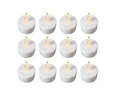 Babz Lot de 12 bougies chauffe-plat LED à lumière vacillante piles incluses.