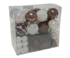 Lot déco Noël - Kit 44 pièces pour décoration sapin : Guirlandes, Boules et Cimier - Thème couleur : Blanc et Chocolat