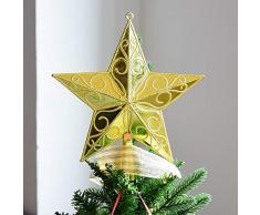 Ototon Cimier de Sapin de Noël Étoile Scintillante Sommet darbre de Noël Topper Décorations pour Maison Salon Fête 15cm