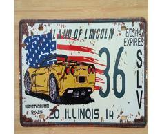 WE Plaque dimmatriculation américaine Vintage Metal Signs Tin Sign Retro Garage Decor Plaque Metal for Bar and Bedroom Decorative Iron Plates 20x30cm cp19