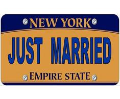Inga Plaque dimmatriculation Novelty Just Married Fun américaine New York 15 x 12 Pouces