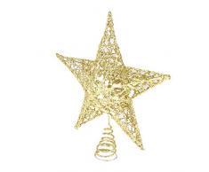 VOSAREA Étoile de Sapin Noël Sommet de Arbre Noël Cimier Topper de Sapin Noël Décoration Ornement Suspendu de Sapin de Noël