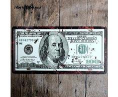 GKD 2pcs célèbre Plaque dimmatriculation américaine de Voiture de Ville Vintage Home Decor Signe de Fer Blanc Signe de métal Shabby Chic Plaque métallique décorative 15 * 30 cm, 9128