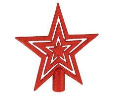 17cm Cimier de Sapin Étoile Finition Pailletée - Rouge