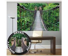 Affiche de Pont suspendu décoration murale du paysage de la jungle de la nature d'aventure pont de forêt pont en bois de la forêt tropicale   mur deco Poster mural Image by GREAT ART (140 x 100 cm)