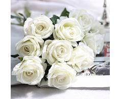 Moonuy Artificielle Faux Roses Flanelle La Mariée Fleur Bouquet De Mariée Fête De Mariage Décor À La Maison Fleurs Fake en Flanelle Wedding Party l'hôtel Table Balcon Décoration (C)
