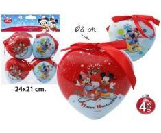 Disney mickey mouse minnie & cœur de 4 boules de noël cimier ø8cm
