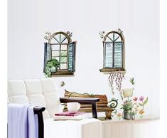 """ufengke® """"Extérieur de la Fenêtre"""" Banc et Fleur de Vigne Stickers Muraux, Salle de Séjour Chambre à Coucher Autocollants Amovibles"""