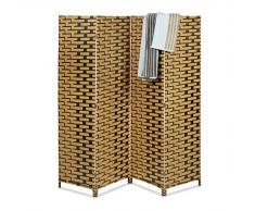 Relaxdays Paravent BYÖBU avec motifs effet tuile HxlxP: 179 x 180 x 2 cm en 4 pièces cloison séparateur de pièce panneaux brise-vue en bambou pliable, marron clair
