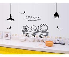 ufengke® Vaisselle de Cuisine Personnalisé Stickers Muraux, Tasses Soucoupes et Bouilloire Autocollants Amovibles Pour la Cuisine Salle à Manger