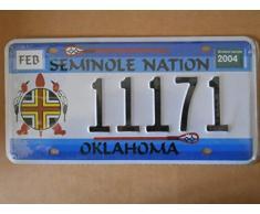 Plaque d'immatriculation américaine Reproduction Oklahoma « Seminole Nation » 31 x 16 cm Référence 11171