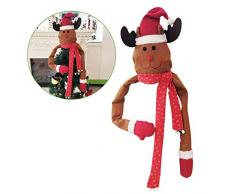 YIREAUD Cimier de Sapin de Noël Père Noël Renne Portant Une écharpe Décoration pour Sapin de Noël, Renne, Taille L
