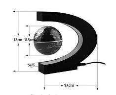 """Qingsun Globe terrestre LED levitation magique lumineux flottant magnetique Globe avec """"C"""" forme Base lumières LED champ Magnétique pour Maison et le Bureau Décorations (EU), Noir"""