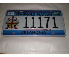 PLAQUE IMMATRICULATION AMERICAINE OKLAHOMA SEMINOLE NATION